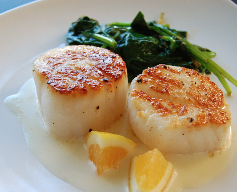 the petite pig: seared sea scallops with meyer-lemon tarragon cream